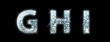 fonts music: G,H,I - font made from a disco ball