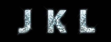 disco symbol: J,K,L - font made from a disco ball