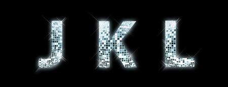 disco light: J,K,L - font made from a disco ball