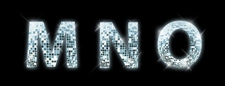 reflection in mirror: M,N,O - font made from a disco ball