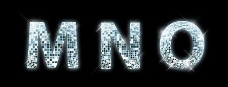 disco club: M,N,O - font made from a disco ball