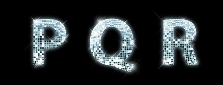 glittery: P,Q,R - font made from a disco ball