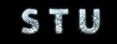 glittery: S,T,U - font made from a disco ball Stock Photo