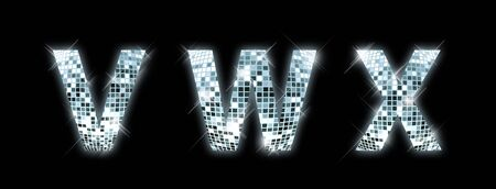 reflection in mirror: V,W,X - font made from a disco ball