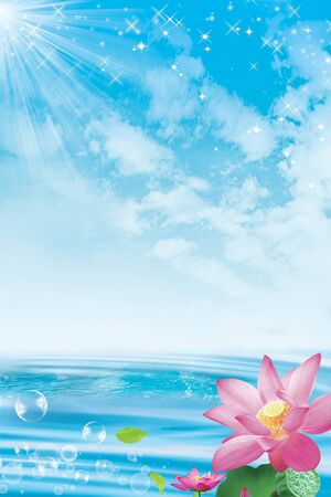 Lotus flowers against a sky and ocean background photo