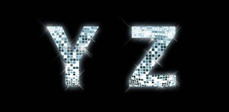 Y, Z -font made from a disco ball