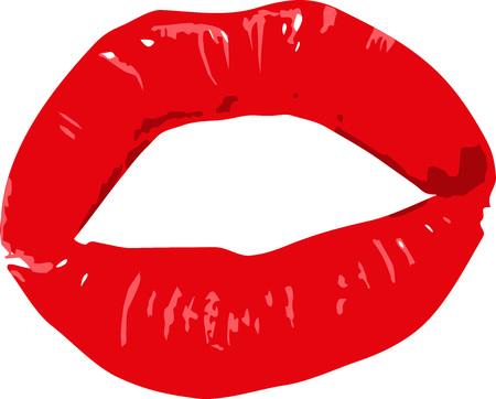 Bright red lipstick kiss lips