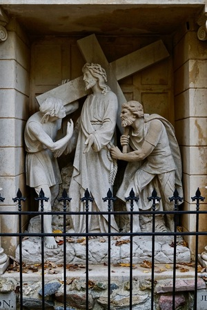Holy Hill National Shrine of Mary, Help of Christians second. station Jesus carrying cross grotto