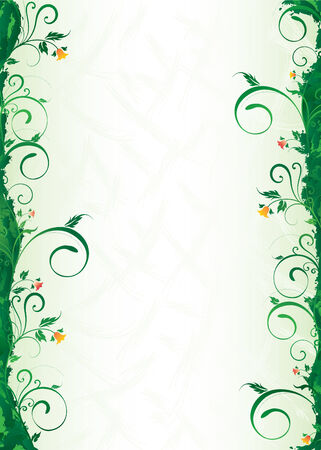 branch is green with a bluebell and spirals on an abstroktnom background Vector