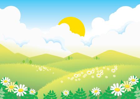 dark cloud: campo verde con camomiles bajo solcem sobre cielo azul Vectores
