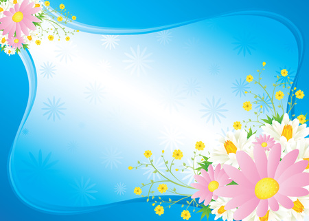 bouquet from camomiles and lilies but blue background Vector