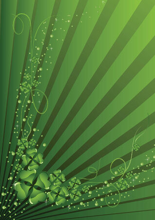 St. Patricks day clover on a green abstract background Vector