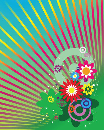 flowers and rays on a  varicoloured abstract background Vector
