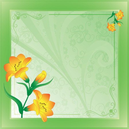 scope with lilies on green on a abstract background Vector