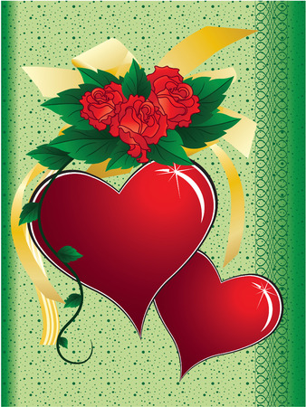 hearts, roses and bow on a green  abstraction background with a braid Stock Vector - 4459124
