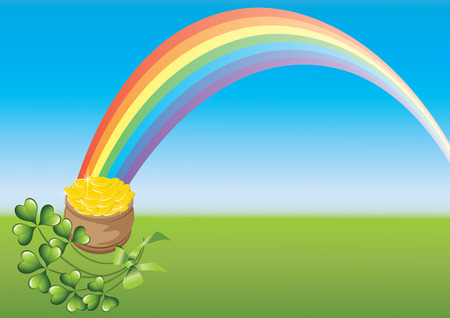 chinks: Saint Patricks Day and rainbow on a green abstract background