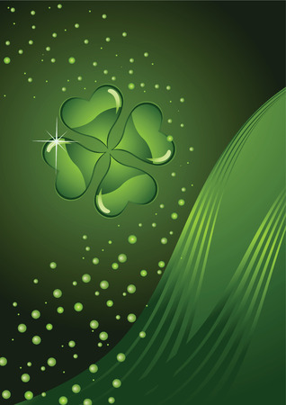 three leaves: design for St. Patricks Day clover on a green abstract background Illustration
