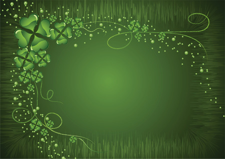Saint Patricks Day clover on a green abstract background Vector