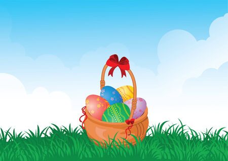 easter painted eggs in a basket on the field  Vector