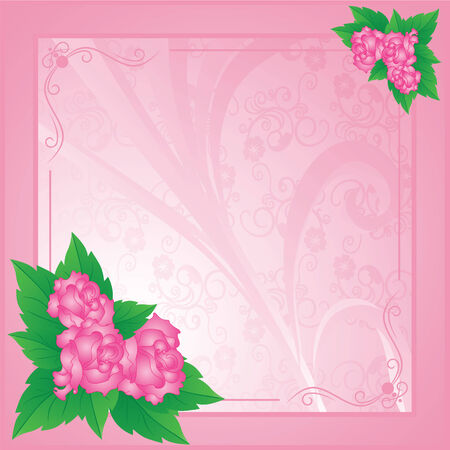 Card with roses on an abstract pink background  Vector