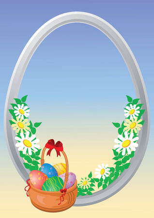 easter varicoloured eggs in a basket on a blue background  Vector