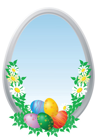 Easter multi-coloured eggs on a blue background with camomiles  Vector