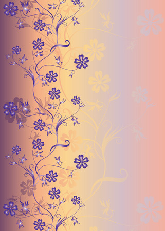 spring branch with colors on a blue background  Vector