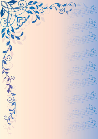 musical notes and decorative pattern on a blue background
