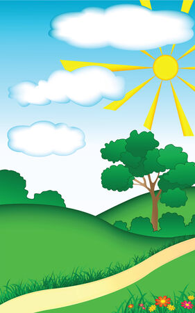 Summer landscape with trees and flowers vector illustration Stock Vector - 5083078
