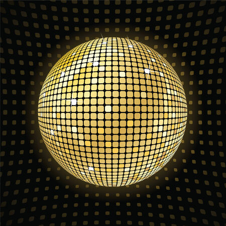 mirrored: retro party background with disco ball, illustration Illustration