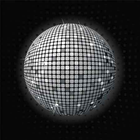 retro party background with disco ball, illustration Illustration