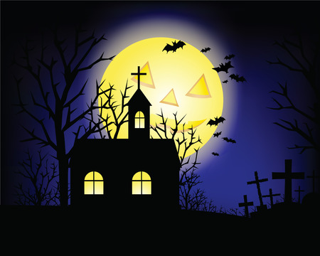 Halloween grunge background with grass bat and hunting house Vector