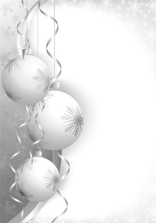 flakes: Christmas decoration background with space for text. All elements on separate layers. Illustration