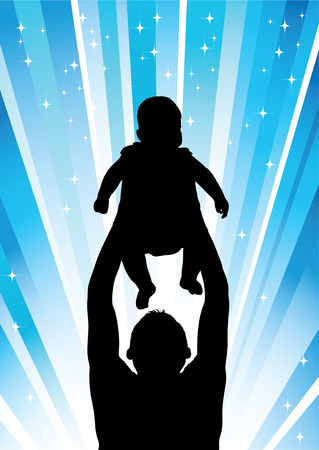Silhouette of the father of  holding child on hands Vector
