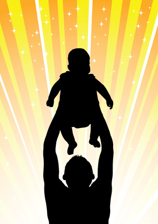 lift and carry: Silhouette of the father of  holding child on hands Illustration
