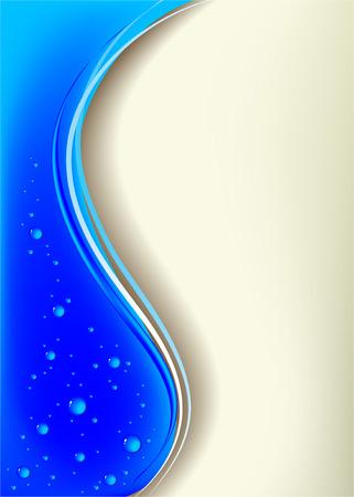 En la ilustración vectorial se un fondo azul con gotas
