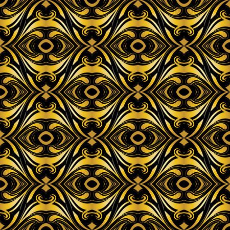 Golden ornamental background on black.  Stock Vector - 5953312