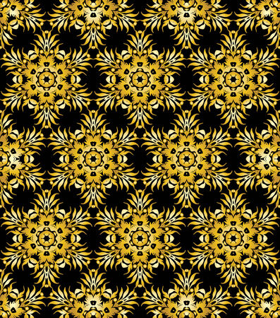 Golden ornamental background on black Stock Vector - 5953313