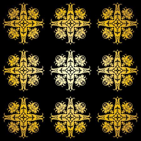 Golden ornamental background on black Stock Vector - 5953314