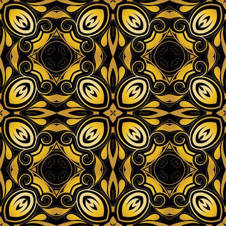 Golden ornamental background on black Stock Vector - 5953307