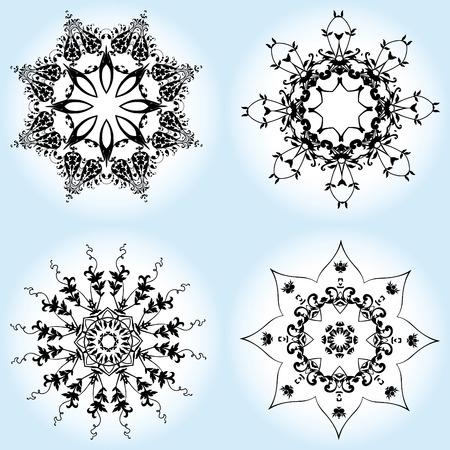 Vector illustration of Christmas snowflake ornament pattern. Vector