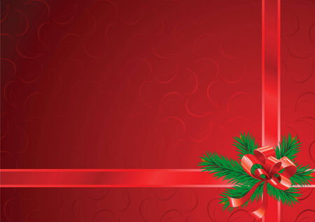 Christmas background with a bow, tapes and branches of fur-trees Vector