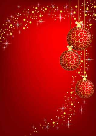 christmas - new year shine card with golden balls Vector