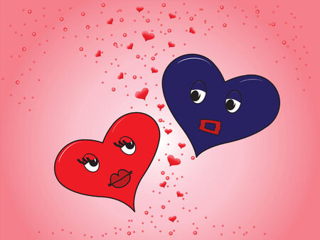heart girl and boy on a pink background Stock Vector - 6204403