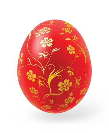 white lilly: Multi-coloured Easter eggs with decor elements on a white background