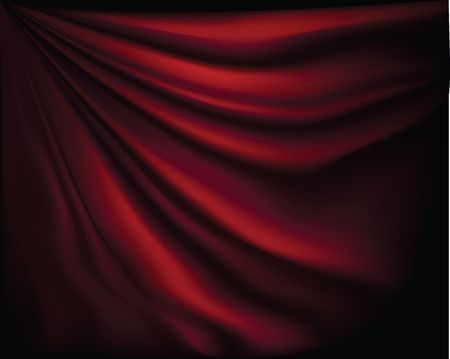 Fragment dark red stage curtain on a black background 向量圖像