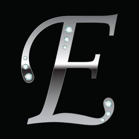 silver metallic letter E with stripes isolated Vector