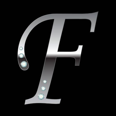silver metallic letter F with stripes isolated Vector