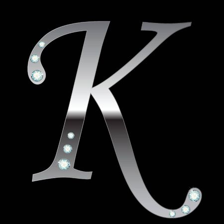 silver metallic letter K with stripes isolated Vector