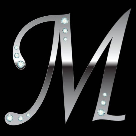 silver metallic letter M with stripes isolated Vector